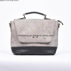 Elegant PU Shoulder Bag with Rivets on Front pictures & photos