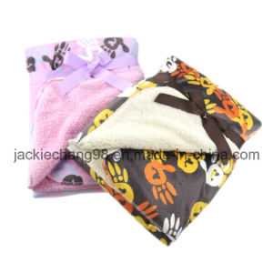 Mirco Mink Printed Baby Blanket with Sherpa (OV015) pictures & photos