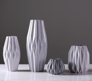 Glassy Surface Ceramic Flowerpot (gray) pictures & photos