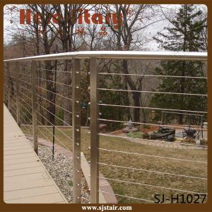 Decking Wire Railing Timber Wood Handrail Stainless Steel Baluster (SJ-X1046) pictures & photos