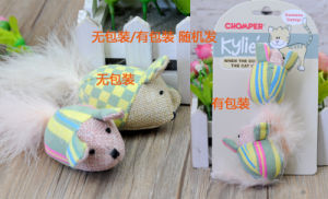 Harmless Ball Cat Playing Wood Stick Flocking Mouse Plush Toys pictures & photos