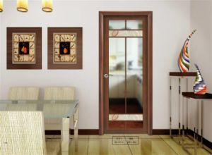 Woodwin Hot Seller Double Tempered Glass with Pattern Aluminum Casement Door pictures & photos