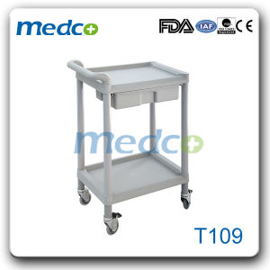 Hospital ABS Instrument Treatment Trolley with Two Layers pictures & photos