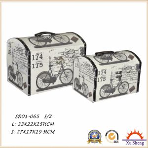 Home Furniture Wooden Suitcase Storage Box Gift Box with PU Printed Pattern pictures & photos