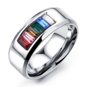Fashion Rainbow Colorful Crystal Woman Men Rings Stainless Steel Jewelry pictures & photos