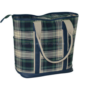Ladies Checked Cotton Fabric Shopping Tote Bag with Leather Trim pictures & photos
