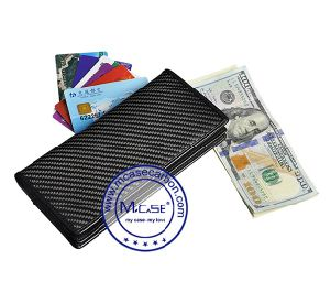 High Quality Promotion Cheap Small Gifts Customized Genuine Carbon Fiber Long Leather Wallet for Men pictures & photos