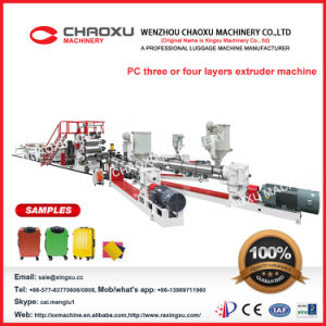 Turkey Customer Choose PC Three Lines Trolley Luggage Bag Making Machine pictures & photos