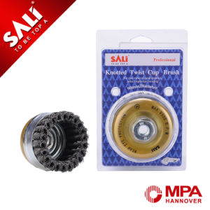 Knotted Tempered Steel Wire Cup Brush for Removing Stain Rust pictures & photos