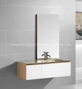 PVC and Melamine Bathroom Cabinet with Yellow Painting Glass Basin pictures & photos