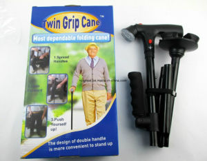 2-Handled Cane Folding Cane with LED Built-in Light pictures & photos