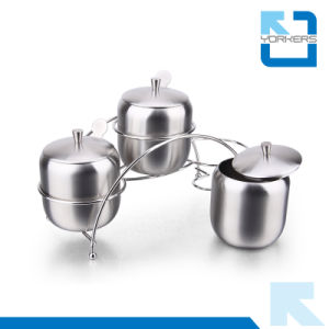 High Quality 3 Pieces 304 Stainless Steel Spice Jar Set Salt and Pepper Set pictures & photos