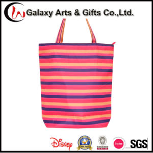 450d Polyester Ladies Shoulder Dourable Striped Tote Zipper Shopping Carrier Bag pictures & photos