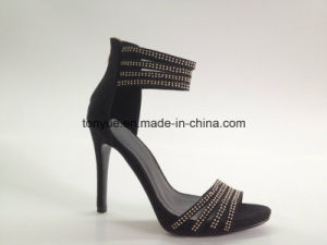 Lady Leather High Heel Crystal with Platform Sandals pictures & photos