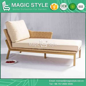 Rattan Chaise with Cushion Leisure Wicker Lounge (Magic Style) pictures & photos
