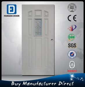 Fangda 9 Panels Modern Frosted Glass Steel Metal Prehung Door pictures & photos