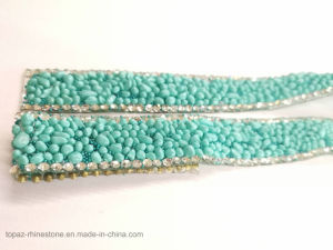 New Material 15mm Aquamarine Rhinestone Resin Chain Hotfix Rhinestone Chain (TC-15mm aquamarine) pictures & photos