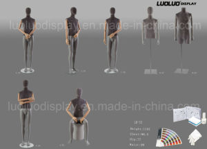 Fashion Linen Wrapped Male Mannequin with Wooden Arms