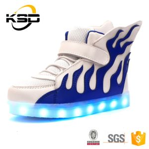 The Most Popular Fire Pattern LED Light up Kids Shoes Customized LED Lighting Shoes