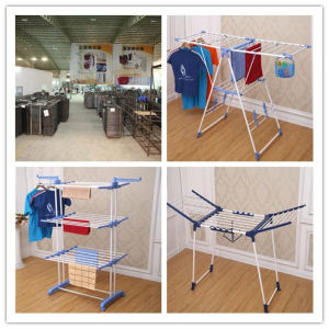 6.2kg Promotion Three Layer Blue Color Clothes Drying Rack with Wheel & Foldable Stand Jp-Cr300W pictures & photos