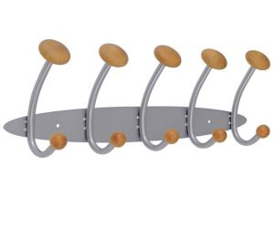 Double Hook Metal and Wooden Hanger Wall Mount Coat Rack pictures & photos