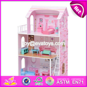 New Design 13 Pieces of Furniture 3 Floor Pretend Play Pink Wooden Cottage Dollhouse for Children W06A230 pictures & photos