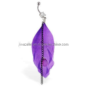 Navel Ring With Dangling Black Chains and Large Purple Feather
