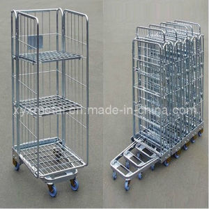 Exported Space Save Foldable Steel Wire Cage Movable Roll Container pictures & photos