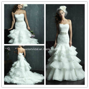 White Strapless Bridal Gown Bead Layered Wedding Dress Ya96 pictures & photos