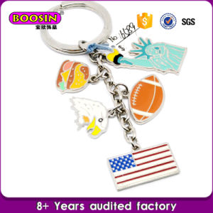 Wholesale Metal Silver Enamel Custom Country USA Flag Charms Keychain pictures & photos