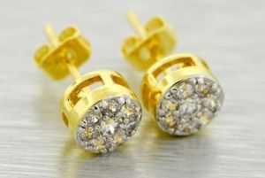 14k Gold Plated 6mm Simulated Lab Made Diamond Earrings Cluster Round Studs Mens Fop902