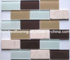 Stone Mix Glass Mosaic Subway Tile (HGM263) pictures & photos