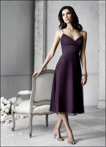 Dark Purple Tea Length Bridesmaid Dress and Bridesmaid Gown (jim-tmb090)