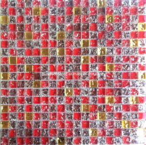 Red and Gold Crystal Glass Mosaic Tile (HGM348) pictures & photos
