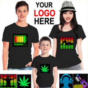 Custom Children Women Men LED EL Sound Activated Flashing T Shirts pictures & photos
