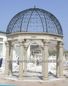 Outdoor Garden Marble Gazebo with Cast Iron Top (GR041) pictures & photos