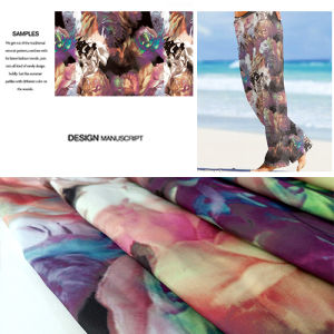 Polyester Flower Printed Beach Pants Fabric, Casual Garment Fabric