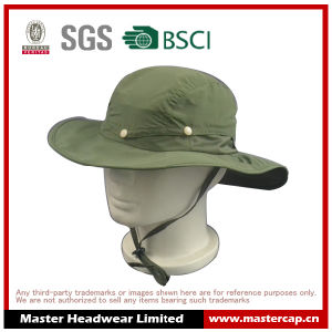 100% Polyester Green Outdoor Cap Bucket Fish Hat for Adult Size