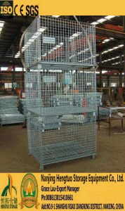Foldable & Stackable Galvanized Wire Mesh Container for Warehouse Storage pictures & photos
