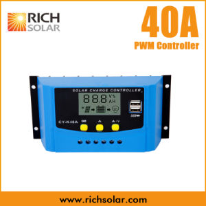 40A Solar Regulator Controller USB Charge 12V 24V LCD Display PWM for Batteries
