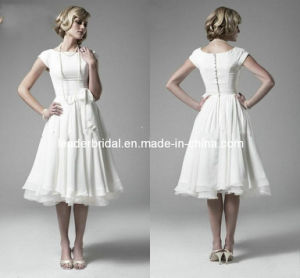 Little White Dress Calf Length Chiffon Wedding Dress A-Line Boat Neckline Cap Sleeves Bridal Wedding Dresses H147236 pictures & photos
