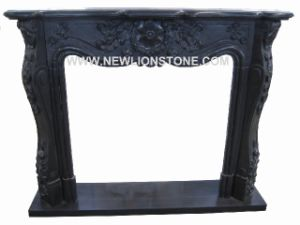Pure Black Marble Fire Place / Fireplace Mantel Marble