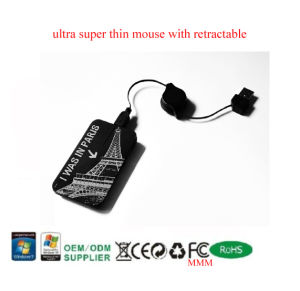 Thin Optical Mouse With Retractable Cable