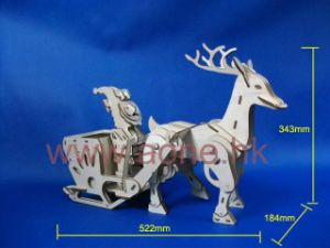 Motorized 3D Puzzle - Santa with Sleigh and Reindeer (1202)