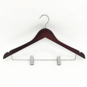 Clips Top Set Coat Hanger for Clothes Mahogany /Brown, Wood Clothes Hanger pictures & photos