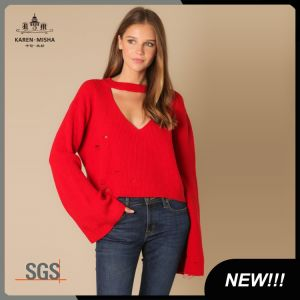 Choker Neck V Neck Fashion Women Knit Sweater pictures & photos