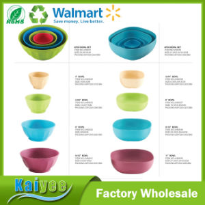 Different Size Colorful Bamboo Fiber Bowl Set with White Lid pictures & photos