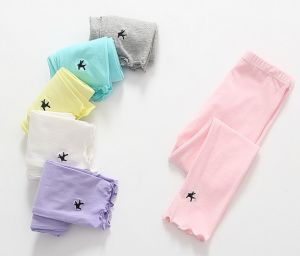 Spot Goods Girl′s 100% Cotton Pants with Embroidery