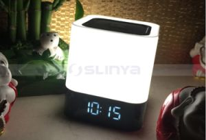 Square LED Lamp Dynamic Color Changing TF Wireless Bluetooth Speaker with Clock pictures & photos