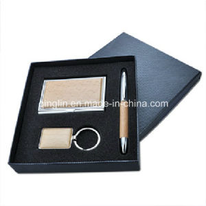 Wooden and Metal Card Holder and Keychain Gift Set (QL-TZ-0060) pictures & photos